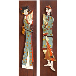 Harris Strong Geisha Tile Plaques - A Pair