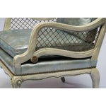 Image of Pair of 1940s Carved and Lacquered Lounge Chairs with Blue Leather Upholstery