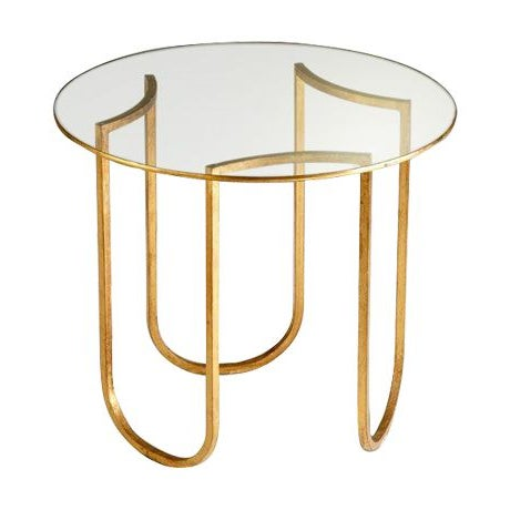 Gold and Glass Vincenzo End Tables - A Pair - Image 1 of 4