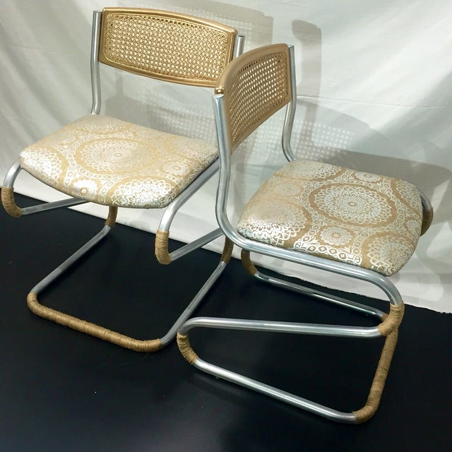 Gold Retro Twine Dining Chairs - 4 - Image 2 of 5