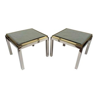 Nickel and Polished Brass with Mirror Top Side Tables