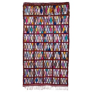 "Moroccan Boucherouite Carpet - 7'8""x4'3"""