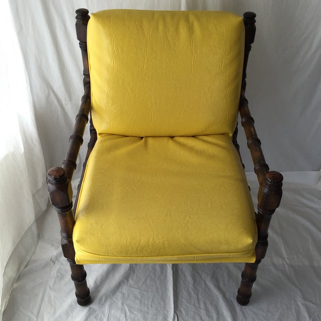 Vintage Bamboo Motif Yellow Chair - Image 3 of 7