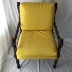 Image of Vintage Bamboo Motif Yellow Chair