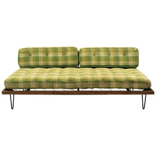 Mid-Century Madras Daybed with Metal Hairpin Legs