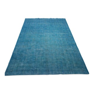 "Turquoise Turkish Over-Dyed Rug - 6'7"" X 10'10"""