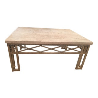 Travertine Top Coffee Table