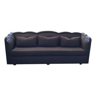 Vintage  English Navy Scalloped Sofa