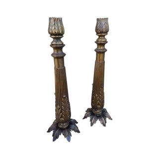 Ancanthus Leaf Candleholders - A Pair