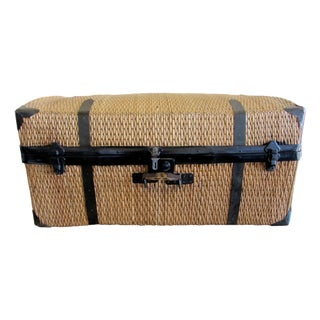 Large Vintage Bamboo Woven Trunk