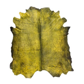 "Exotic Mojito Green Natural Cowhide Area Rug | Made in Italy | 7'3"" x 8'0"""