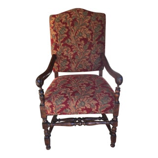 French Louis XIV Walnut Upholstered Armchair (Fauteuil)