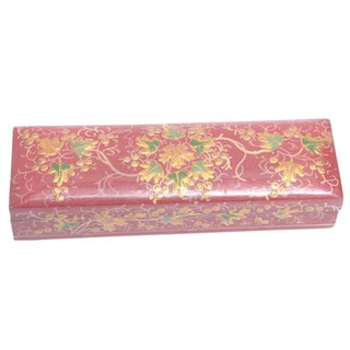 Decorated Kashmiri Hand Painted Pencil Box