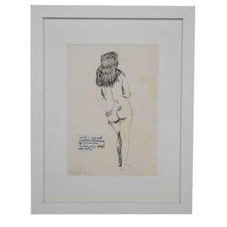 Framed Pettibon Figurative Drawing