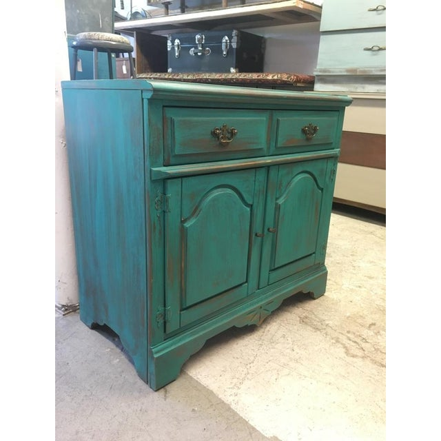Bassett Distressed Turquoise Sideboard - Image 2 of 4