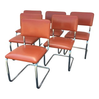 Mid-Century Chrome & Vinyl Dining Chairs - Set of 6