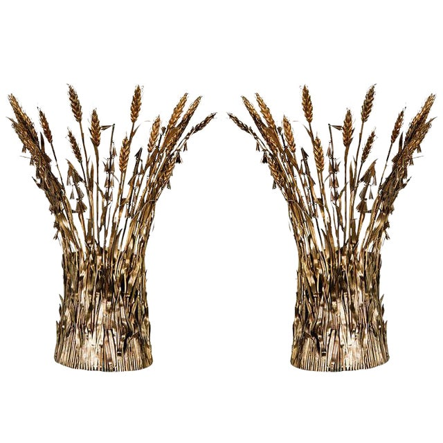 Pair of Italian Gilt Wheat Sconces - Image 1 of 9