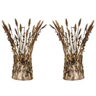 Pair of Italian Gilt Wheat Sconces
