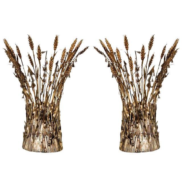 Image of Pair of Italian Gilt Wheat Sconces