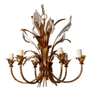 Italian Six Light Gilded Tole Chandelier With Calla Lilies and Crystals