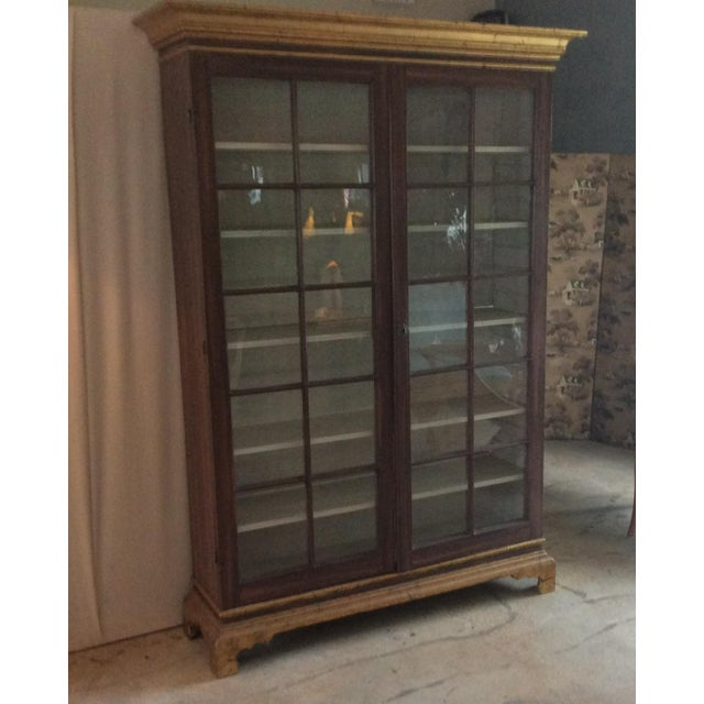 Vintage Hand Painted Glass Door Cabinet - Image 3 of 5