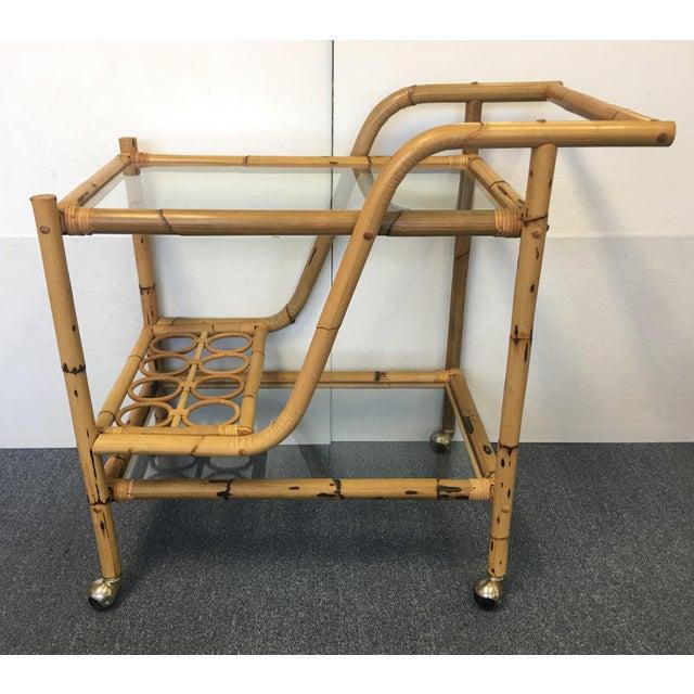Vintage Bamboo & Rattan Bar Cart - Image 6 of 6