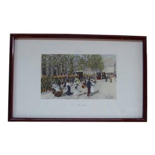 1890's F. Giusto Parisian Street Scene Etched Print