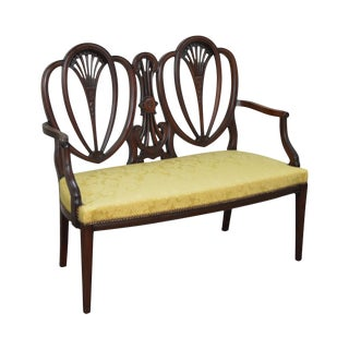 Antique Mahogany Hepplewhite Style Double Shield Back Settee