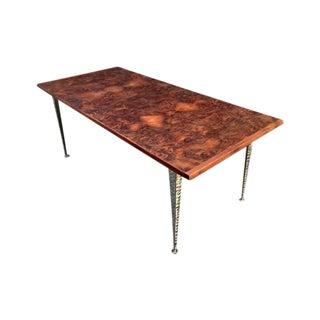Mid-Century Industrial Burl Wood Dining Table