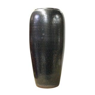 Ceramic Metallic Black Glaze Tall Slim Vase Jar cs2615