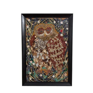 Large Vintage Owl Textile - Fiber Art Assemblage