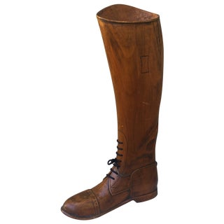 Carved Wood Horse Riding Boot