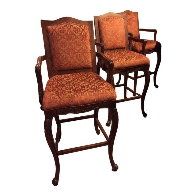 Image of Carved Wood European Design Barstools - Set of 3