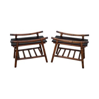 John Wisner for Ficks Reed Rattan End Tables - A Pair