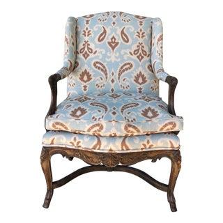 Antique Wood Ikat Arm Chair