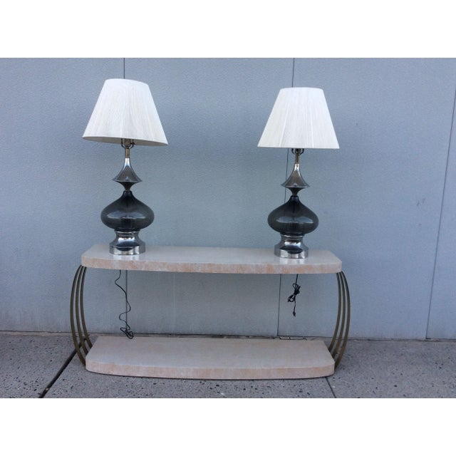 Image of 1970s Modern Chrome & Glass Table Lamps