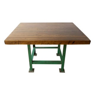 Industrial Steel Butcher Block Table Island Desk