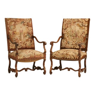 Pair of Original Antique French Walnut & Needlepoint Throne Chairs