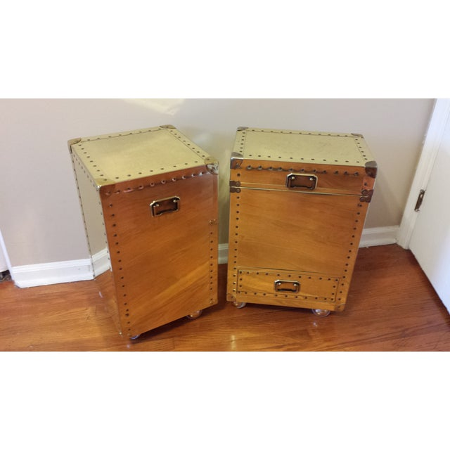 Studded Brass Trunk Sidetables - A Pair - Image 6 of 9