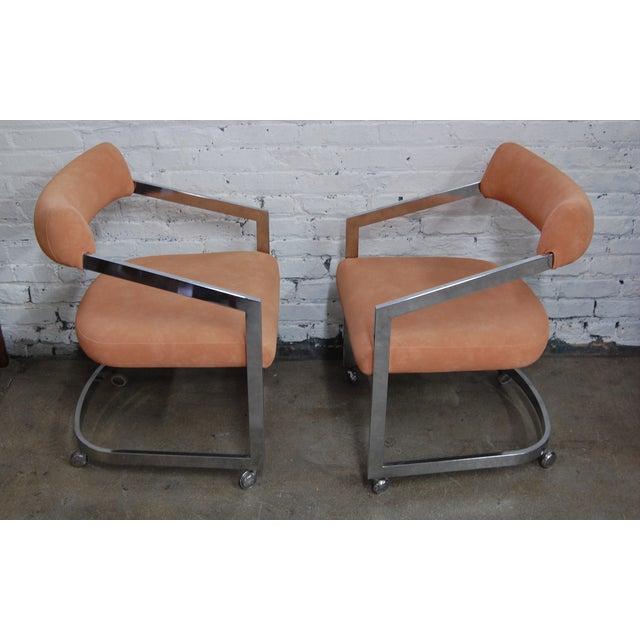 Peach Blush Dia Chrome Modernist Chairs - Pair - Image 3 of 11
