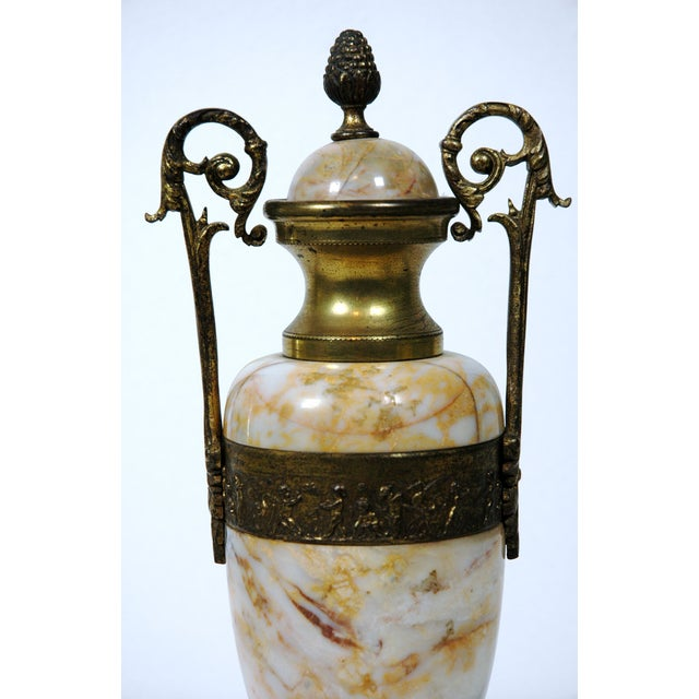Pink Marble Urns - A Pair - Image 6 of 7