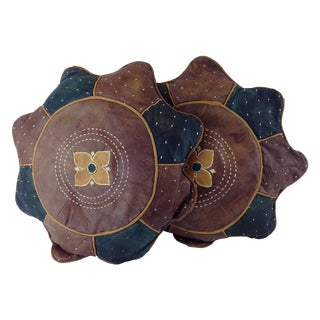 African Embroidered Star Leather Pillows - Pair