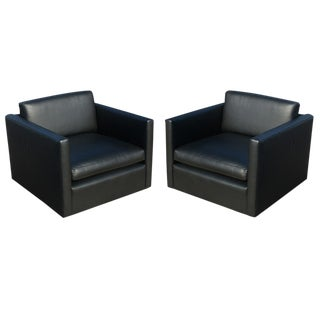Knoll Charles Pfister Black Leather Armchairs - A Pair