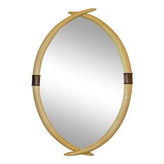 Chapman Hollywood Regency Brass & Faux Ivory Tusk Wall Mirror