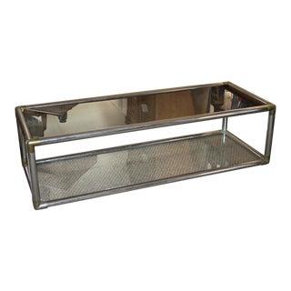 Chrome & Brass Glass Coffee Table
