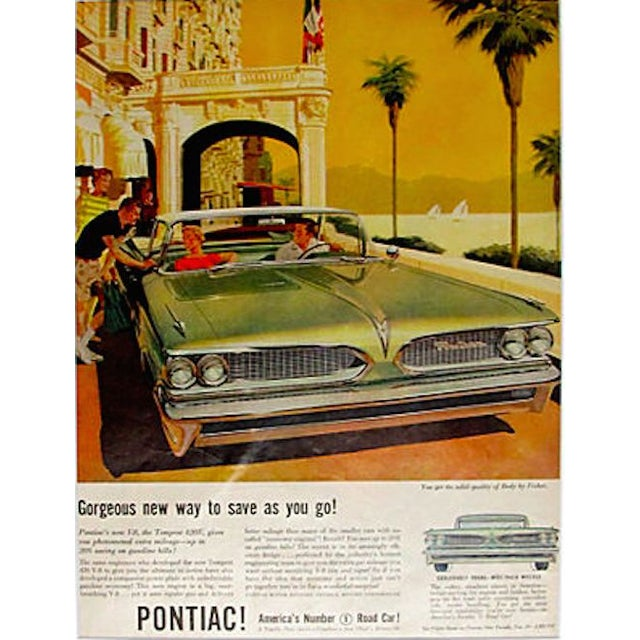 Image of 1960s Pontiac V8 Matted Advertisement