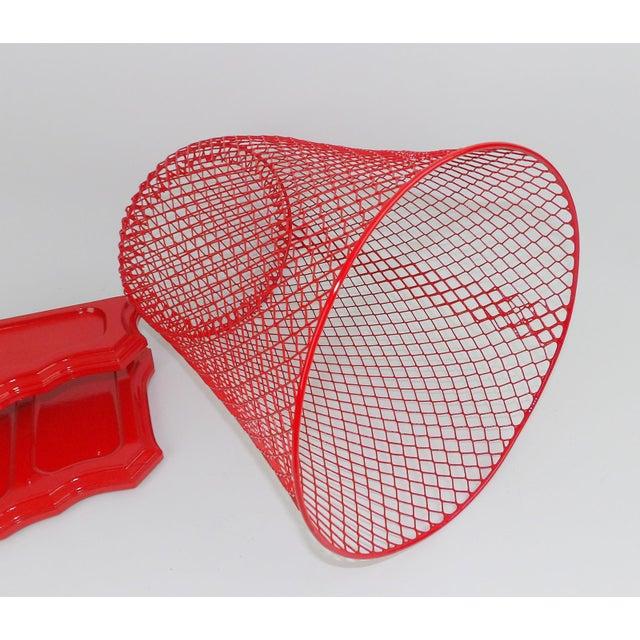 Vintage Mid-Century Modern Red Wire Metal Waste Bucket - Image 8 of 11