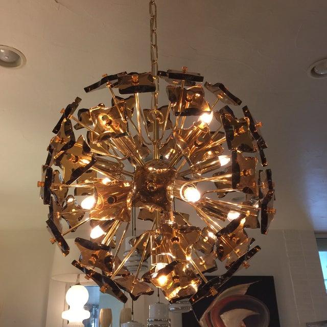 Fontana Arte Sputnik Chandelier Bronze Glass - Image 4 of 8