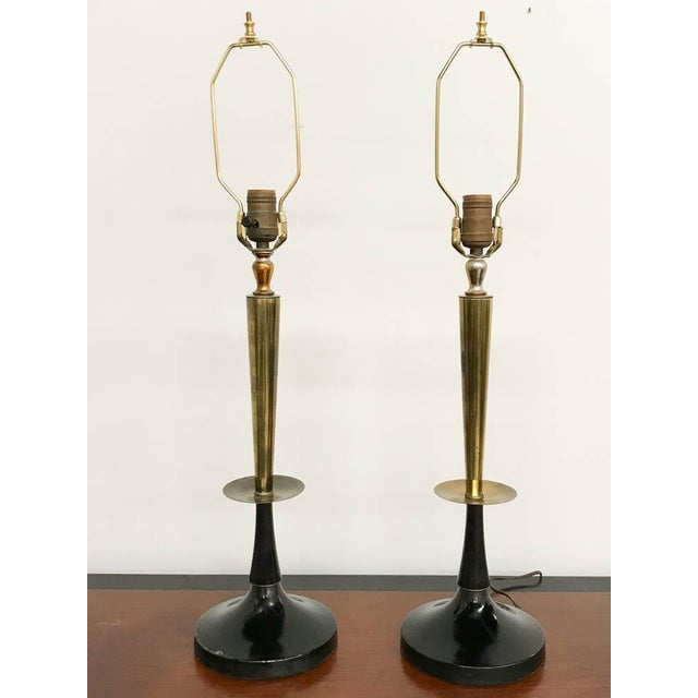 Mid Century Black and Brass Lamps - a Pair - Image 6 of 6