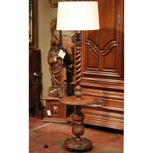 World class early 20th century french carved and barley twist early 20th century french carved and barley twist floor lamp with attached table image 6 mozeypictures Images
